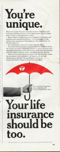 "1965 Travelers Insurance Ad ""You're unique"""