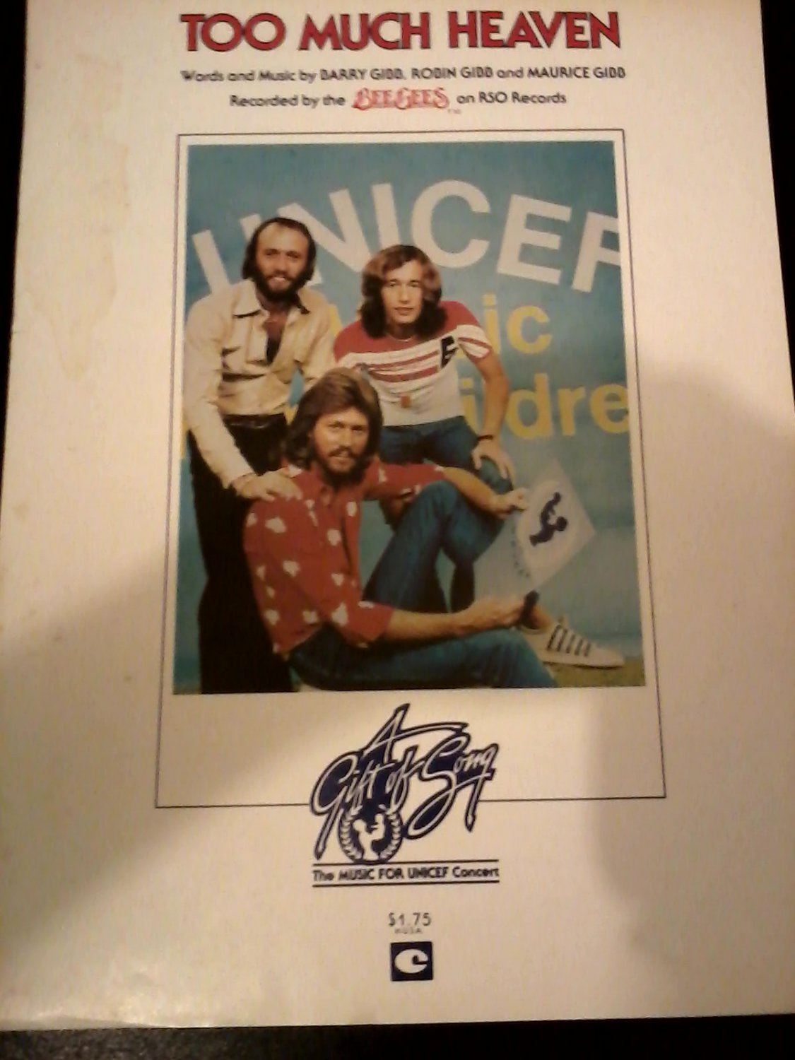Gibb) Bee Gees Too Much Heaven VG+ '79 UNICEF PS Sheet Music Folder