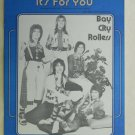Pop) Bay City Rollers It's For You 1975 PS Sheet Music