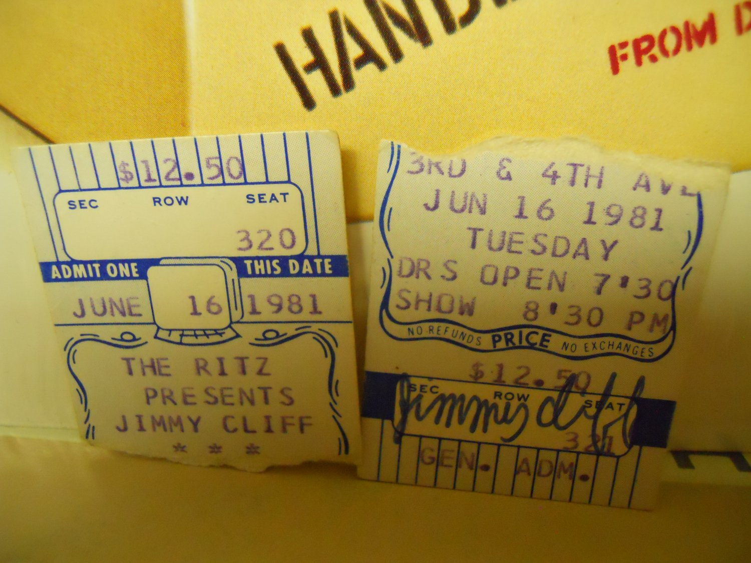 Reggae) Jimmy Cliff 2 Used VG+ 1981 Ritz New York Ticket Stubs