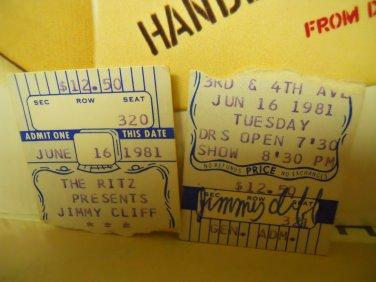 Reggae) Jimmy Cliff 2 Used VG+ 1981 Ritz New York Ticket Stubs