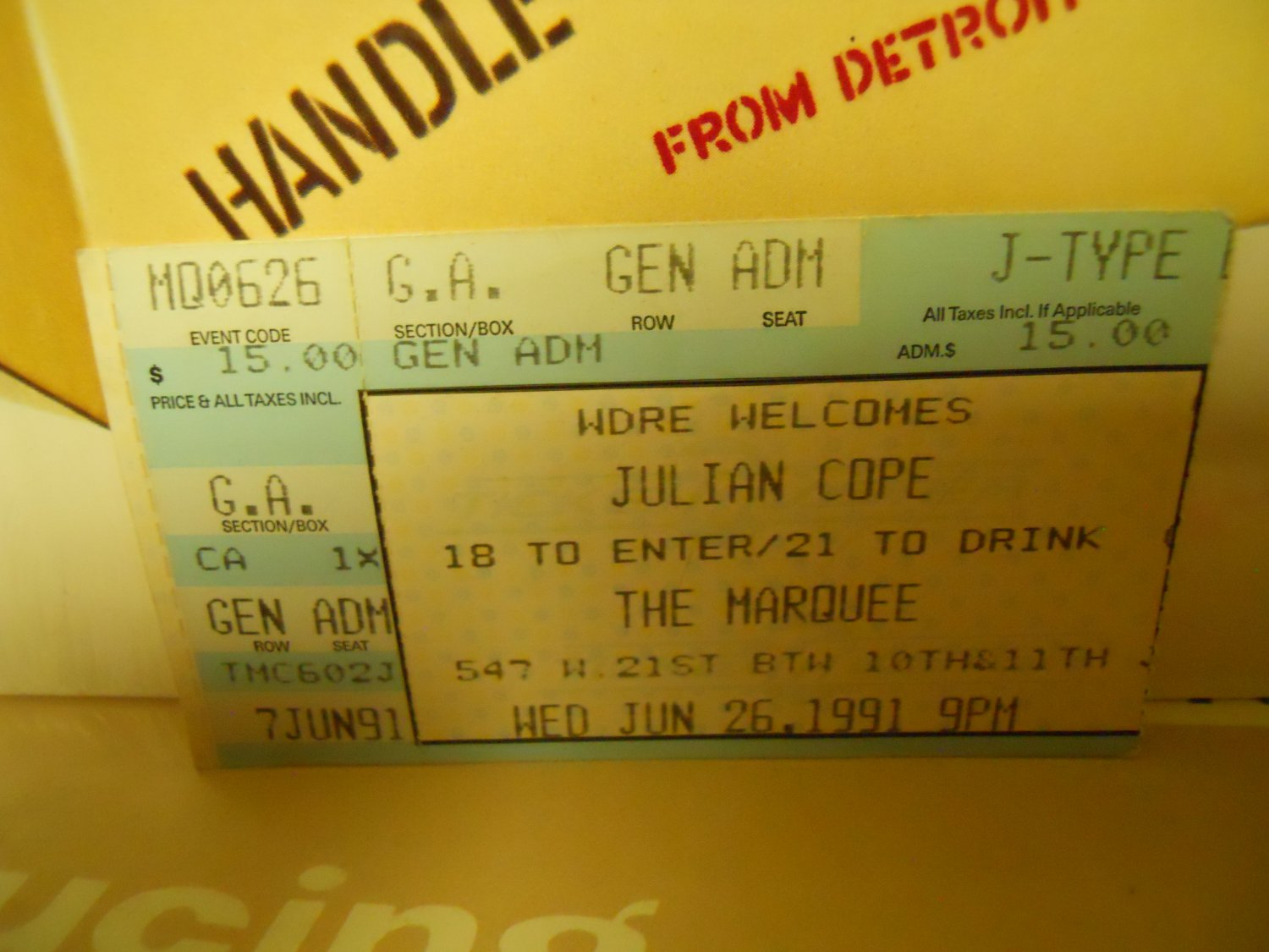 julian cope 1991 marquee club nyc EX used ticket stub #3
