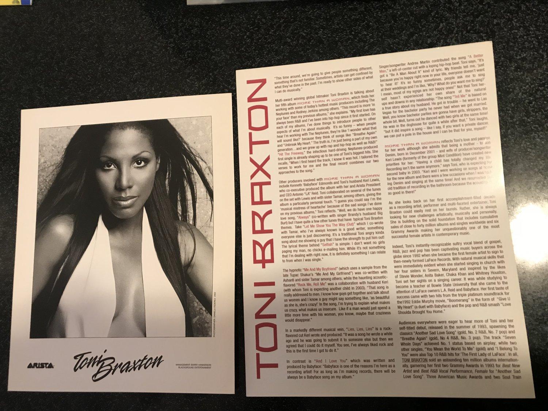 R&B) Toni Braxton More Than A Woman 2002 Custom Press Release & Photo
