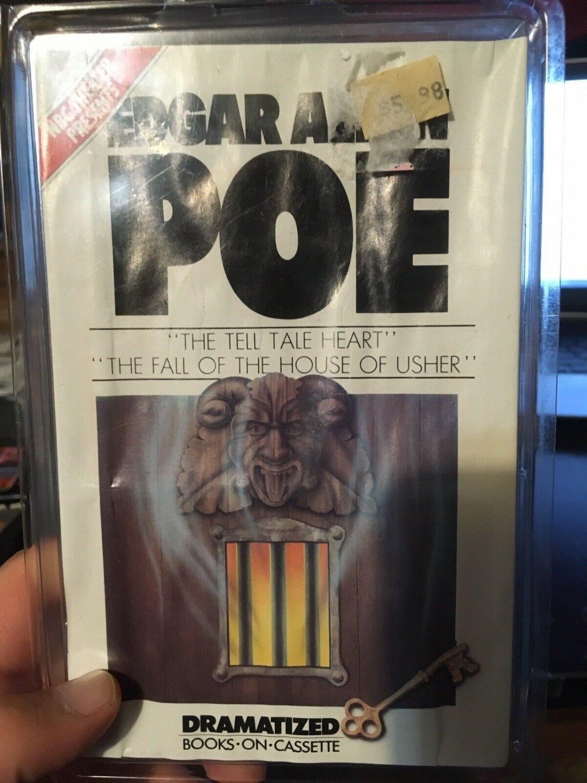 edgar allen poe 1977 book cassette house of usher & tell tale heart.