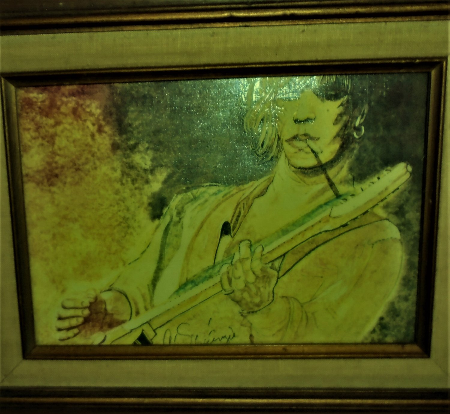 Rolling Stones) keith richards live 1978 original OLD framed painting 1 of a kind