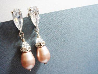 Champagne Bridal Earrings Swarovski Pearl Cubic Zirconia E023