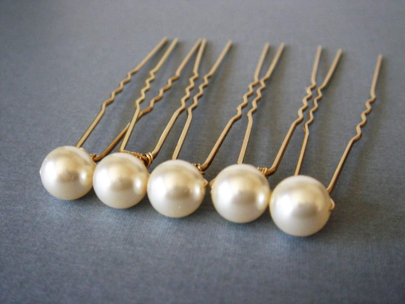 Gold Bridal Hair U Pin Swarovski Pearl - Gift Under 20 - Bridesmaid Present HG004