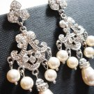 Chandelier Bridal Swarovski Pearl Earrings - Fairy Tale Wedding - E038