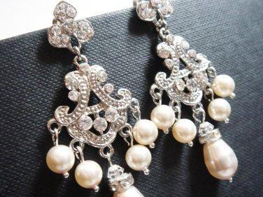 Chandelier Bridal Swarovski Pearl Earrings - Fairy Tale Wedding - E038