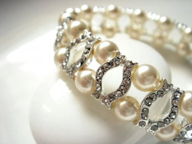 Art Deco Bracelet - Vintage Style Bridal Swarovski Pearl Bracelet