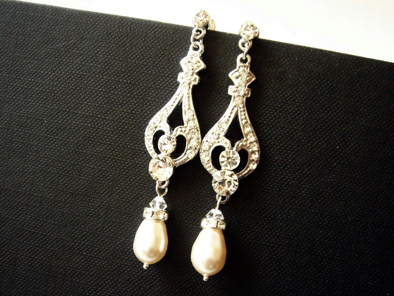 Long Bridal Swarovski Pearl Earrings - Theme Wedding E031