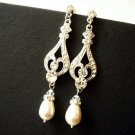 Long Bridal Swarovski Pearl Earrings - Theme Wedding E031