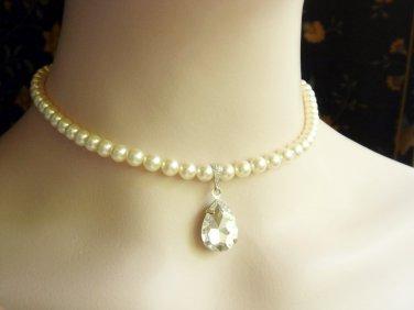Swarovski Pearl Necklace - Classic Rhinestone Teardrop Bridal Wedding Jewelry