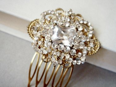 Gold Vintage Wedding Hair Comb - Antique Style Bridal Accessories GFS03