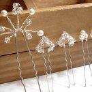 Handmade Swarovski Hair Pins - Pearl Cluster U Pin - Crystal Flower Leaf HS017
