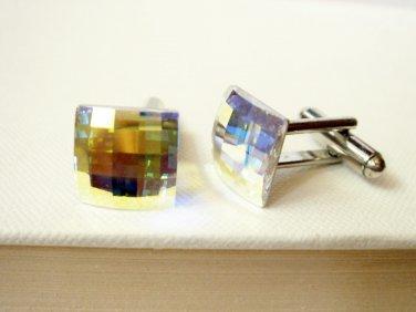 Swarovski Crystal Cufflink - Crystal AB Checkerboard Mens Cuff Link - Groomsmen