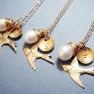 Monogram Gold Pearl Necklace - 14k Gold Filled Sensitive Skin - Bridesmaid Gift