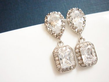 Halo Bridal Earrings - Cubic Zirconia Sterling Silver Wedding E033