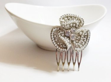 Wedding Orchid Hair Comb - Faux Pearl Flower - Gift Under 20 CB001