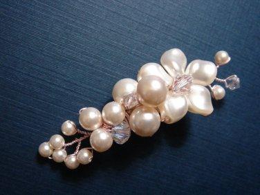 Swarovski Bridal Barrette - Wedding Flower Hair Clip HS039