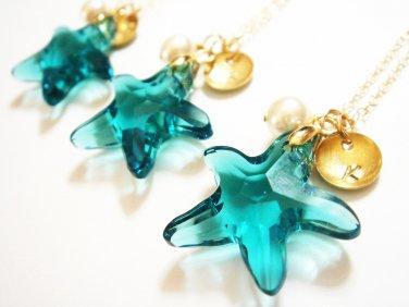 Swarovski Starfish Crystal 14k Gold Filled Necklace - Hypoallergenic sensitive skin