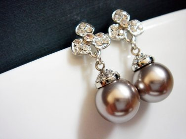 Flower Bridal Platinum Large Pearl Earrings - Cubic Zirconia - Orchid E035