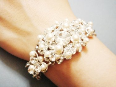 Statement Swarovski Bracelet - Vintage Style Pearl Wide Bracelet