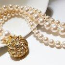 Gold Swarovski Pearl Chunky Bracelet - Wide Bridal Jewelry