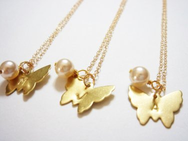 Gold Monogram Butterfly Necklace - Bridesmaid Initial 14k Gold Filled Necklace