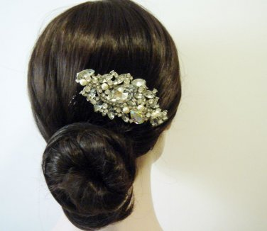 Statement Swarovski Bridal Hair Comb - Flower Pearl Large Wedding Accessory CB002
