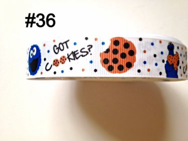 "5 yard - 7/8"" Monster Cookie ""Got Cookie"" White Grosgrain Ribbon"