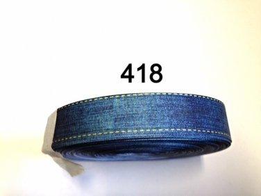 """5 yd - 1"""" Blue Denim with Stitch Border Grosgrain Ribbon"""