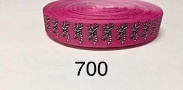 """5 yard - 7/8"""" Zebra Browning Deer Hot Pink Grosgrain Ribbon"""