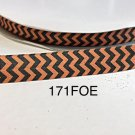 "5 yard - 5/8"" Black and Orange Chevron Fold Over Elastic"