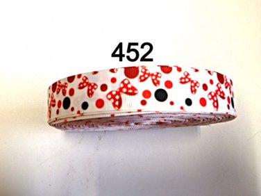 "5 yard - 7/8"" Minnie Mouse Polka Dot Bow on White Grosgrain Ribbon"
