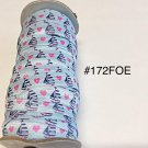 "5 yard - 5/8"" Sail Boat with Pink Heart on Blue Fold Over Elastic"