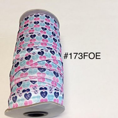 "5 yard - 5/8"" Anchor and Heart on White Fold Over Elastic"
