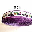 "5 yard - 7/8"" School Preschool Rocks with Purple Border on White Grosgrain Ribbon"