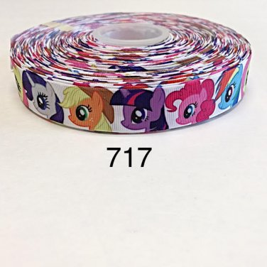 """5 yard - 7/8"""" My Little Pony and Friends on White Grosgrain Ribbon"""
