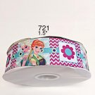 "5 yard - 1.5"" Frozen Princess Elsa and Anna with Chevron and Flower Motif Grosgrain Ribbon"