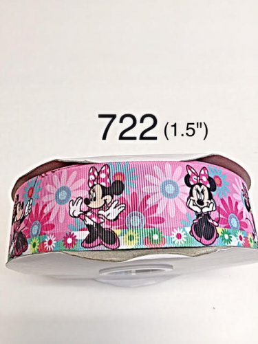 """5 yard - 1.5"""" Minnie Mouse with Flower Motif Pink Grosgrain Ribbon"""