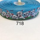 "5 yard - 7/8"" Dalmatian Dog Puppies on Blue Grosgrain Ribbon"