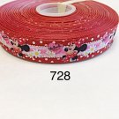 """5 yard - 7/8"""" Minnie Mouse with Flower Motif on Red Grosgrain Ribbon"""