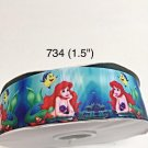 "5 yard - 1.5"" Princess Ariel with Flounder The Fish Under The Sea on Blue Grosgrain Ribbon"