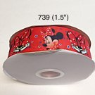 "5 yard - 1.5"" Minnie Mouse Peek A Boo with Blue Polka Dot on Red Grosgrain Ribbon"