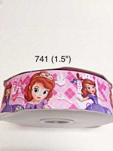 "5 yard - 1.5"" Princess Sofia and Bird on Pink Grosgrain Ribbon"