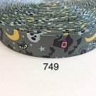 """5 yard - 1"""" Halloween Witch Hat, Cat, Moon and Bat inspired Gray Grosgrain Ribbon"""