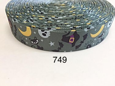 "5 yard - 1"" Halloween Witch Hat, Cat, Moon and Bat inspired Gray Grosgrain Ribbon"