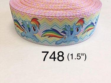 "5 yard - 1.5"" My Little Pony Rainbow Dash on Rainbow Chevron Grosgrain Ribbon"