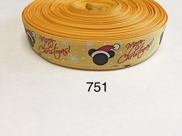 "5 yard - 7/8"" Mickey Mouse Merry Christmas with Snowflake on Yellow Grosgrain Ribbon"